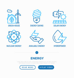 Energy thin line icons set vector