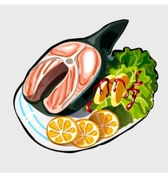 Fish steak with vegetables and oranges vector image