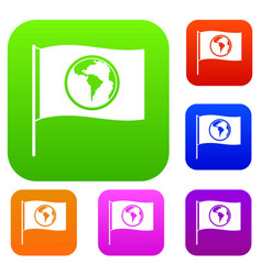 flag with world planet set color collection vector image