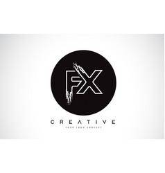 Fx modern leter logo design with black and white vector
