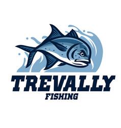 Giant trevally fishing vector