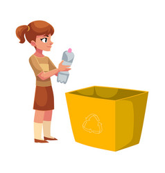 Girl going to throw plastic bottle in a trash bin vector