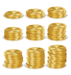 gold coins stacks realistic isolated vector image