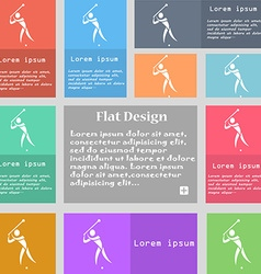 Golf icon sign set of multicolored buttons with vector