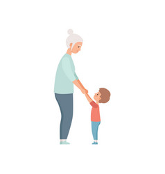 Granny and her little grandson holding hands vector