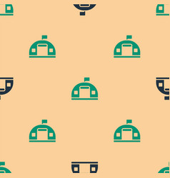 Green and black military barracks station icon vector