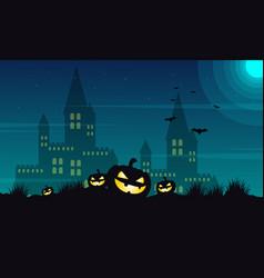 halloween castle and pumpkin background vector image