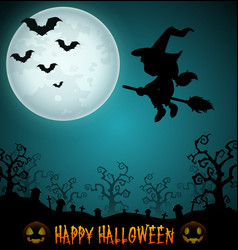 Halloween night background with flying little girl vector
