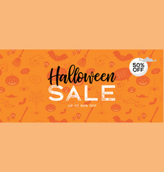 Halloween sale banner with lettering vector
