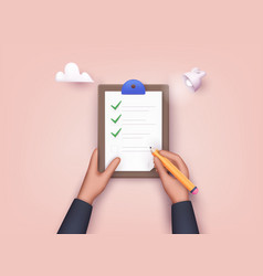 hand holding checklist on a clipboard paper vector image