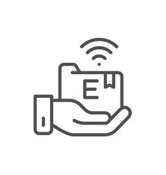 hand holds e-learning folder online education vector image