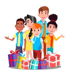 Happy children with many christmas gifts vector