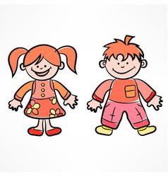 happy color cartoon children vector image