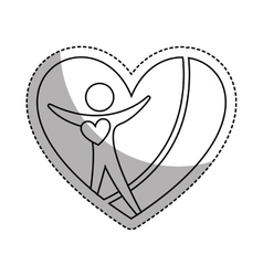 Heart with human silhouette icon vector