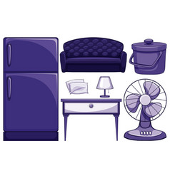 Household furnitures in blue vector