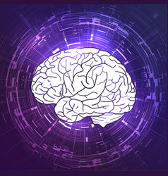 human brain on violet techno background display vector image