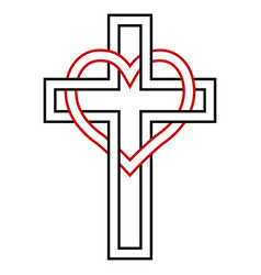 Intertwining of the heart and christian cross vector