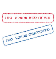 iso 22000 certified textile stamps vector image