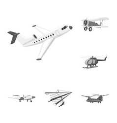 Isolated object of plane and transport icon set vector