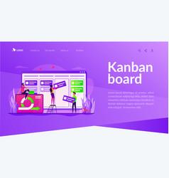 Kanban board landing page template vector