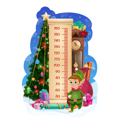 Kids height chart with christmas tree and cute elf vector