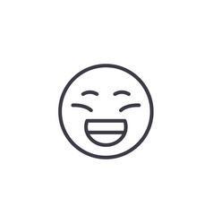 laughing emoji concept line editable vector image