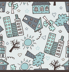 light seamless pattern with skyscrapers houses vector image