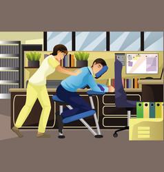 Massage therapist working on a client in an office vector