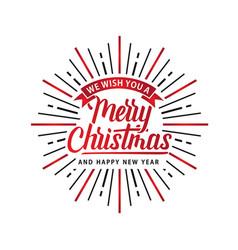 merry christmas shine xmas logo white red vector image