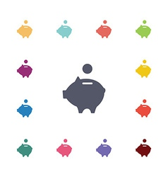 moneybox piggy flat icons set vector image