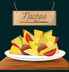 nachos mexican food menu restaurant vector image