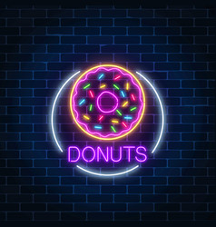 Neon glowing sign of donuts in circle frame on a vector
