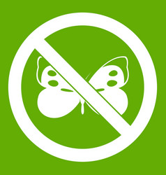 No butterfly sign icon green vector