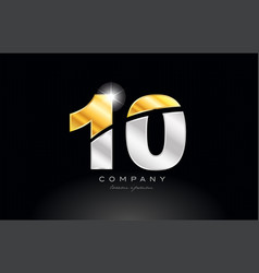 number 10 gold silver grey metal on black vector image