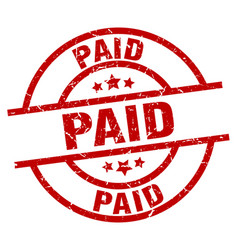 paid round red grunge stamp vector image