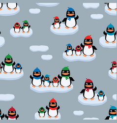 Penguins on the ice floes vector