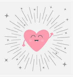 Pink heart face head with hands cute cartoon vector