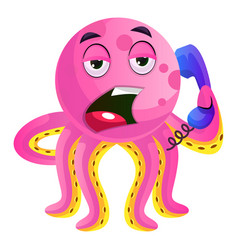 pink octopus speaking on phone on white vector image