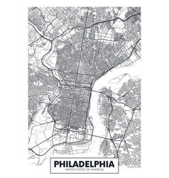 Poster map city philadelphia vector