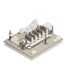 printing production process isometric composition vector image