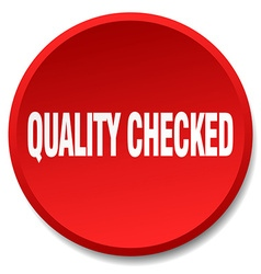 Quality checked red round flat isolated push vector