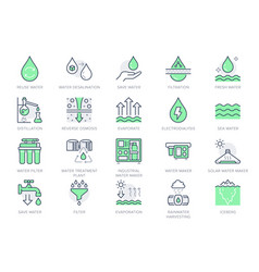 Rainwater harvesting line icons vector