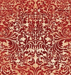 Red floral art pattern grunge style vector
