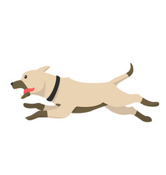 runing happy dog cartoon fast jumping dog logo vector image