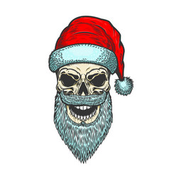 santa claus skull on white background christmas vector image