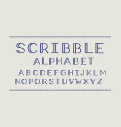 scribble volume font alphabet vector image