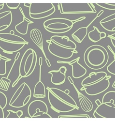 Seamless background with kitchen utensil vector