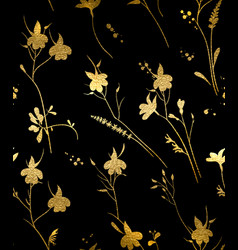 seamless gold floral pattern on a black background vector image