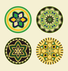 Set african decorative elements tribal print vector