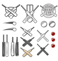 set cricket team emblem design elements vector image